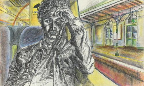 Artist on a train
